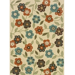 "Floral Ivory/Brown Outdoor Area Rug (5'3"" x 7'6"")"