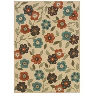 StyleHaven Floral Ivory/Brown Indoor-Outdoor Area Rug (5'3x7'6)