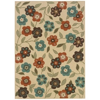 "StyleHaven Floral Ivory/Brown Indoor-Outdoor Area Rug - 5'3"" x 7'6"""