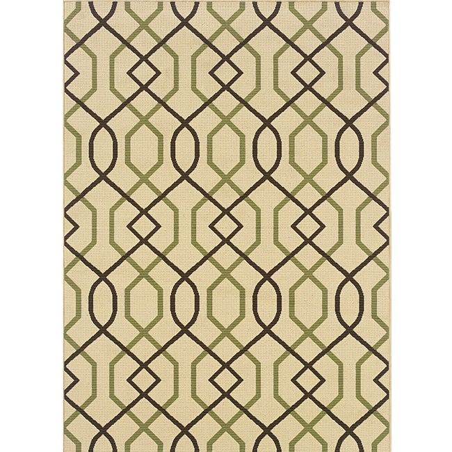Ivory/ Brown Outdoor Area Rug (5'3 x 7'6)
