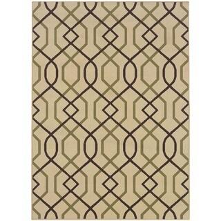 """StyleHaven Lattice Ivory/Brown Indoor-Outdoor Area Rug (5'3x7'6) - 5'3"""" x 7'6"""""""