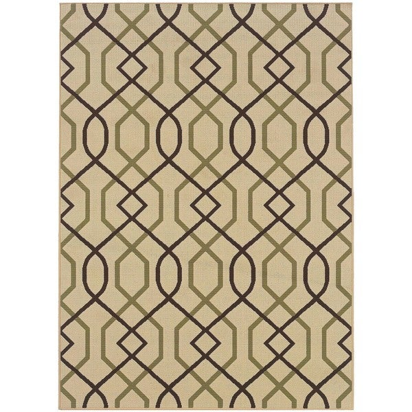 "StyleHaven Lattice Ivory/Brown Indoor-Outdoor Area Rug (5'3x7'6) - 5'3"" x 7'6"""