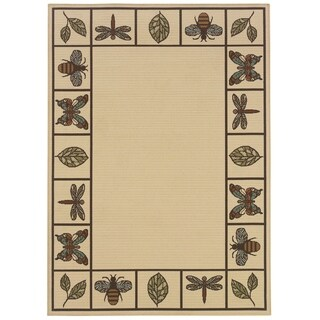 StyleHaven Botanical Ivory/Brown Indoor-Outdoor Area Rug (6'7x9'6)
