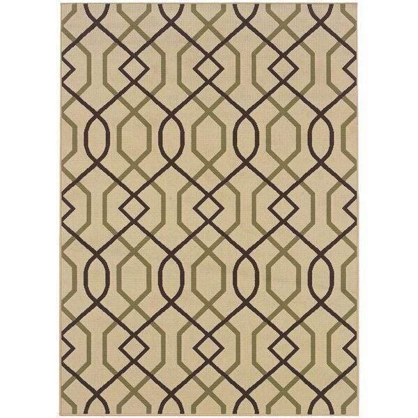 StyleHaven Lattice Ivory/Brown Indoor-Outdoor Area Rug (6'7x9'6)