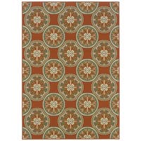 StyleHaven Floral Orange/Ivory Indoor-Outdoor Area Rug - 2'5 x 4'5