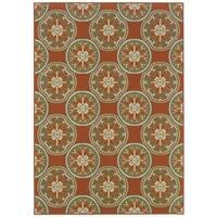 """StyleHaven Floral Orange/Ivory Indoor-Outdoor Area Rug (3'7x5'6) - 3'7"""" x 5'6"""""""