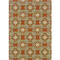 Orange/ Ivory Outdoor Area Rug (5'3 x 7'6)