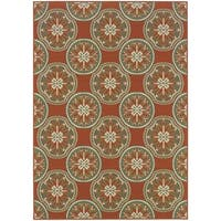 "StyleHaven Floral Orange/Ivory Indoor-Outdoor Area Rug - 5'3"" x 7'6"""