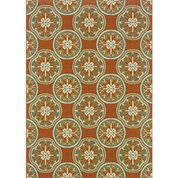 Orange/ Ivory Outdoor Area Rug (6'7 x 9'6)