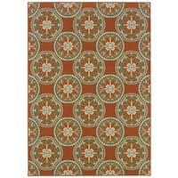 "StyleHaven Floral Orange/Ivory Indoor-Outdoor Area Rug - 6'7"" x 9'6"""