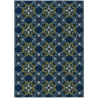 StyleHaven Floral Blue/Green Indoor-Outdoor Area Rug (5'3x7'6)