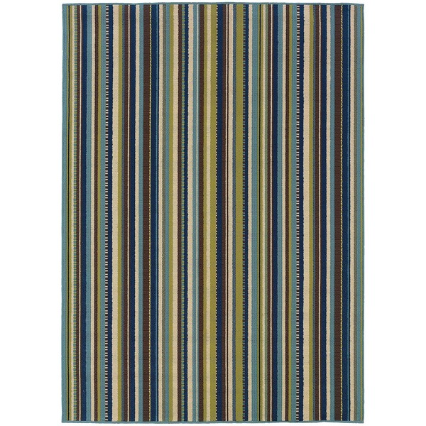 StyleHaven Stripes Blue/Brown Indoor-Outdoor Area Rug (5'3x7'6)