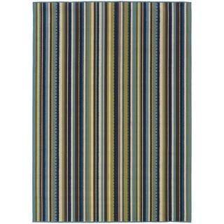 StyleHaven Stripes Blue/Brown Indoor-Outdoor Area Rug (7'10x10'10)