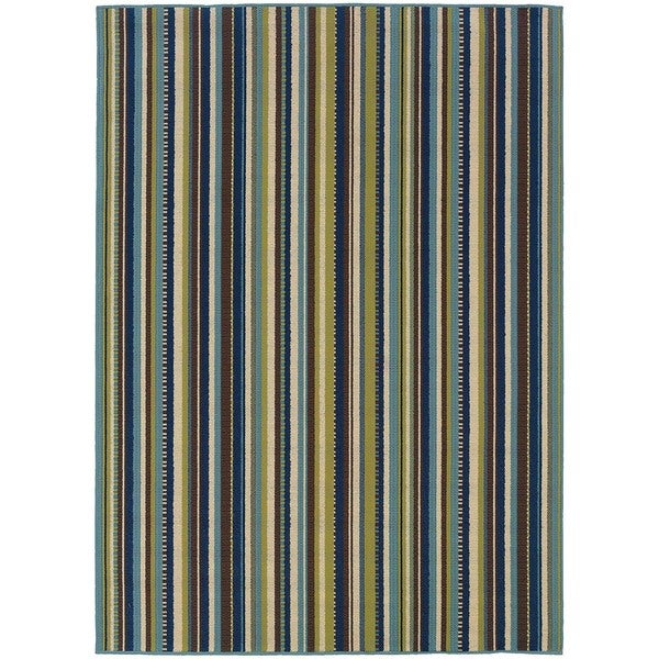 Stylehaven Stripes Blue Brown Indoor Outdoor Area Rug 7