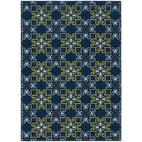 "StyleHaven Floral Blue/Green Indoor-Outdoor Area Rug - 6'7"" x 9'6"""