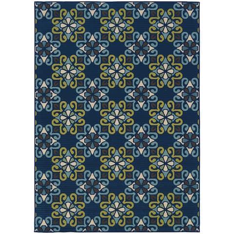 "StyleHaven Floral Blue/Green Indoor-Outdoor Area Rug (7'10x10'10) - 7'10"" x 10'10"""