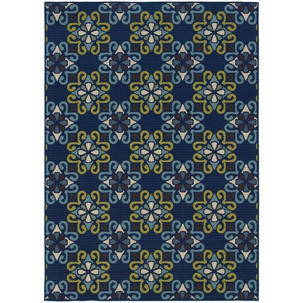 StyleHaven Floral Blue/Green Indoor-Outdoor Area Rug (7'10x10'10)