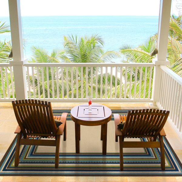 """Ivory/Blue Outdoor Area Rug (5'3"""" x 7'6"""")"""