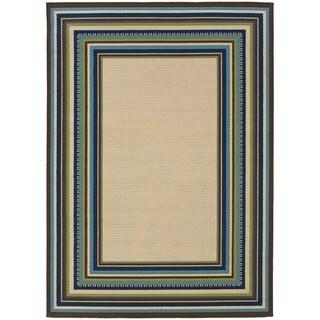 """Laurel Creek Oswin Ivory/Blue Indoor-Outdoor Area Rug (5'3x7'6) - 5'3"""" x 7'6"""""""