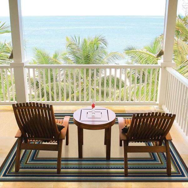 StyleHaven Borders Ivory/Blue Indoor-Outdoor Area Rug (6'7x9'6)