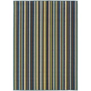 StyleHaven Stripes Blue/Brown Indoor-Outdoor Area Rug (3'7x5'6)
