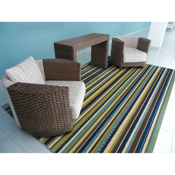 "Blue Brown Striped Outdoor Area Rug 6 7"" x 9 6"" Free"