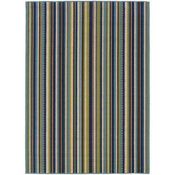 StyleHaven Stripes Blue/Brown Indoor-Outdoor Area Rug (6'7x9'6)