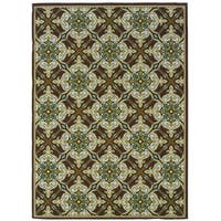 StyleHaven Floral Brown/Ivory Indoor-Outdoor Area Rug (5'3x7'6)