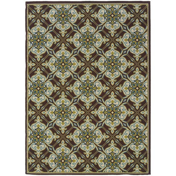 StyleHaven Floral Brown/Ivory Indoor-Outdoor Area Rug (6'7x9'6)