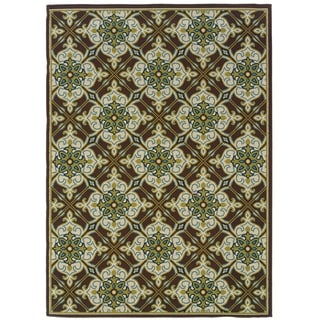 StyleHaven Floral Brown/Ivory Indoor-Outdoor Area Rug (7'10x10'10)