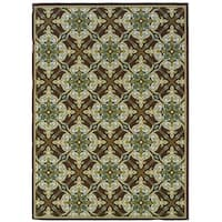 "StyleHaven Floral Brown/Ivory Indoor-Outdoor Area Rug (7'10x10'10) - 7'10"" x 10'"