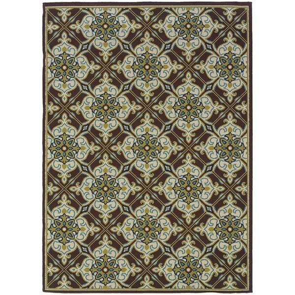 StyleHaven Floral Brown/Ivory Indoor-Outdoor Area Rug (7'10x10'10)