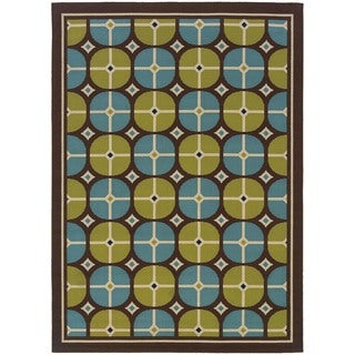 Brown/ Blue Outdoor Area Rug (5'3 x 7'6)