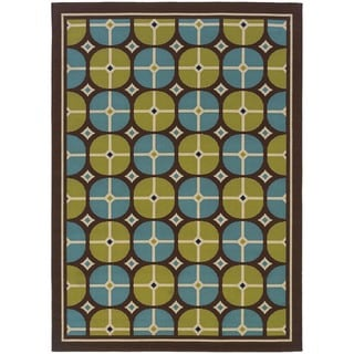 StyleHaven Tile Brown/Blue Indoor-Outdoor Area Rug (5'3x7'6)
