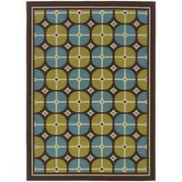 StyleHaven Tile Brown/Blue Indoor-Outdoor Area Rug - 6'7x9'6