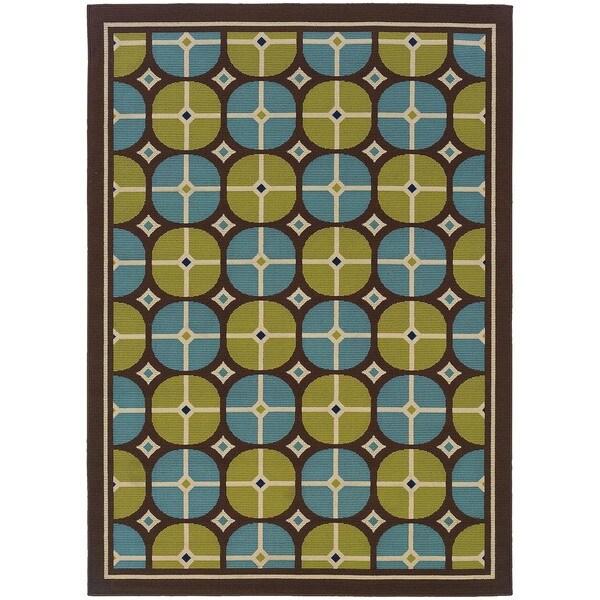 StyleHaven Tile Brown/Blue Indoor-Outdoor Area Rug (6'7x9'6)