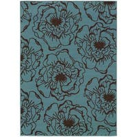 StyleHaven Floral Blue/Brown Indoor-Outdoor Area Rug (3'7x5'6)