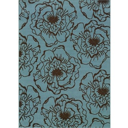 Blue/Brown Floral Outdoor Area Rug (5'3 x 7'6)