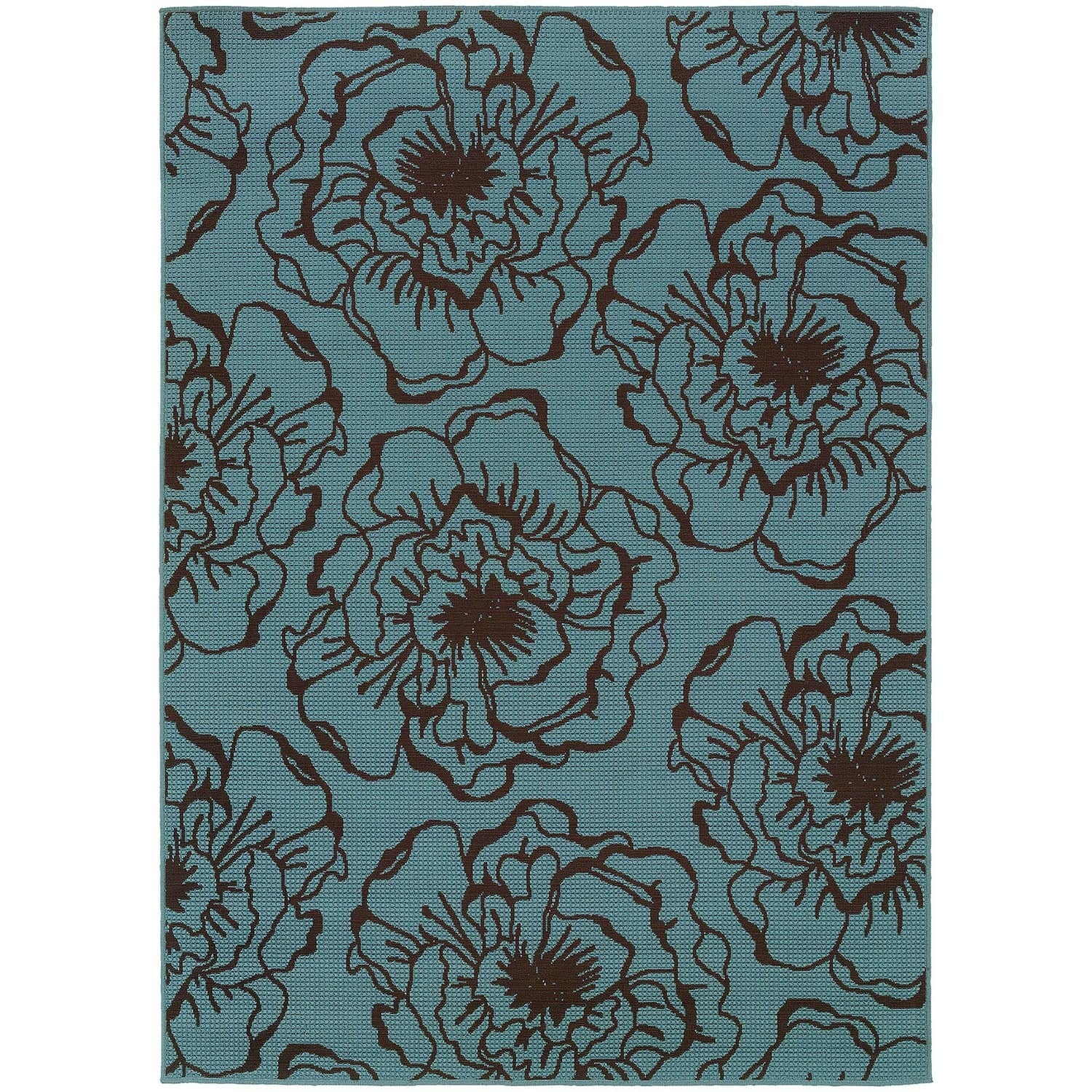 StyleHaven Floral Blue/Brown Indoor-Outdoor Area Rug (53x76) - 53 x 76 (53 x 76 - Blue/Brown)