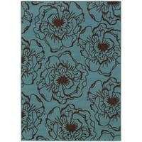 StyleHaven Floral Blue/Brown Indoor-Outdoor Area Rug (7'10x10'10)