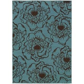 "StyleHaven Floral Blue/Brown Indoor-Outdoor Area Rug (7'10x10'10) - 7'10"" x 10'"