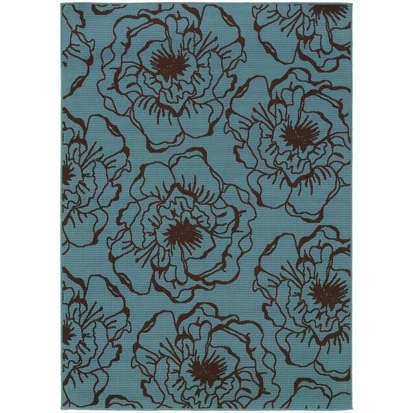 StyleHaven Floral Blue/Brown Indoor-Outdoor Area Rug (7'10x10'10)