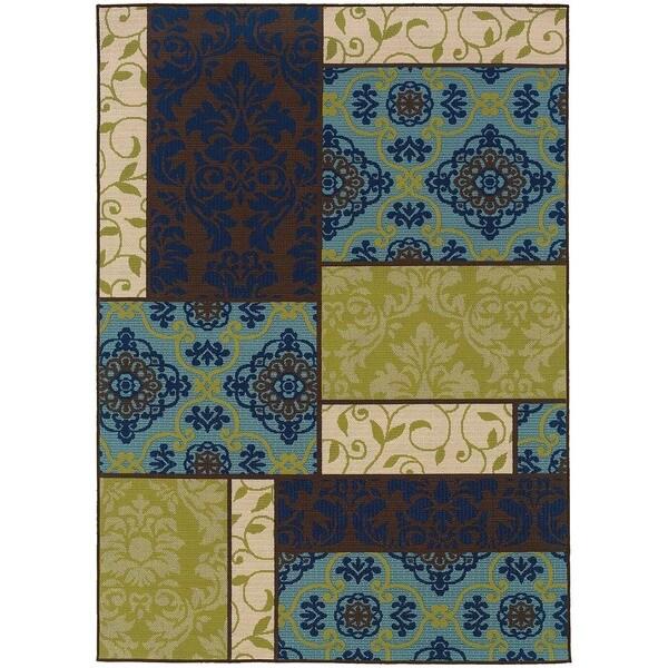 StyleHaven Patchwork Brown/Blue Indoor-Outdoor Area Rug (5'3x7'6)