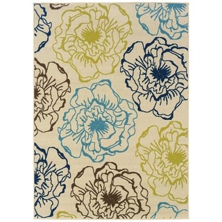 StyleHaven Floral Ivory/Blue Indoor-Outdoor Area Rug (6'7x9'6)