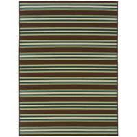 StyleHaven Stripes Brown/Green Indoor-Outdoor Area Rug (7'10x10'10)