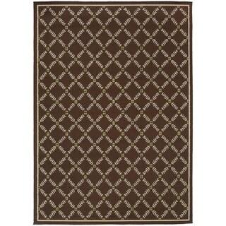 """StyleHaven Lattice Brown/Ivory Indoor-Outdoor Area Rug (6'7x9'6) - 6'7"""" x 9'6"""""""