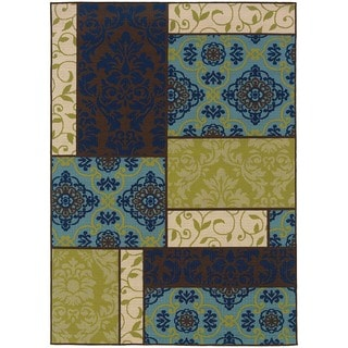 """StyleHaven Patchwork Brown/Blue Indoor-Outdoor Area Rug (6'7x9'6) - 6'7"""" x 9'6"""""""