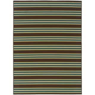 StyleHaven Stripes Brown/Green Indoor-Outdoor Area Rug (3'7x5'6)