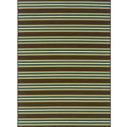 Brown/Green Striped Outdoor Area Rug (6'7 x 9'6)