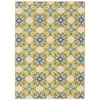 StyleHaven Floral Ivory/Blue Indoor-Outdoor Area Rug (3'7x5'6)
